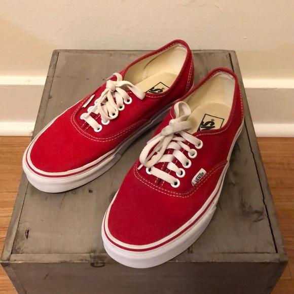 Vans Shoes | Red Vans Authentic Womens